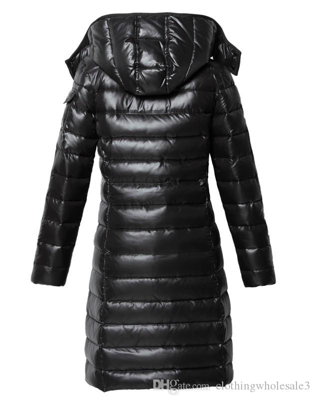 Womens Goose Down Parka Black with Hooded Winter Long Coats Zipper 80% White Duck Down Outwear Wine Red Slim