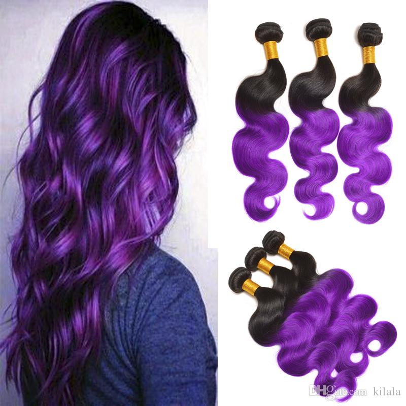 8A Brazilian Body Wave Ombre Color Two Tone 1B Purple 3 Pcs Hot Human Hair Extensions Wholesale Bellqueen Bundles Brazilian Hair