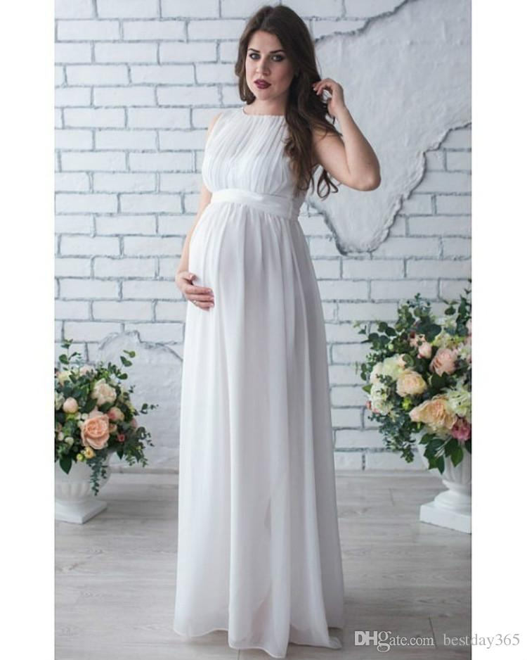 6b402680217 2019 New Maternity Photography Props Dress Pregnancy Sleeveless Clothes  Maxi Photography Chiffon Dresses From Bestday365