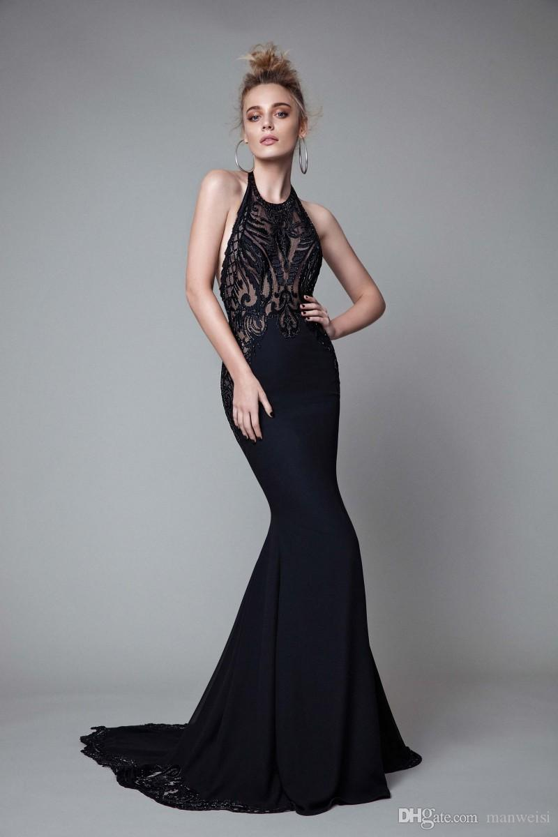 Berta 2017 Mermaid Evening Dresses Halter Neck Backless Trumpet Lace Prom Gowns Sweep Train Sleeveless Sexy Party Dress