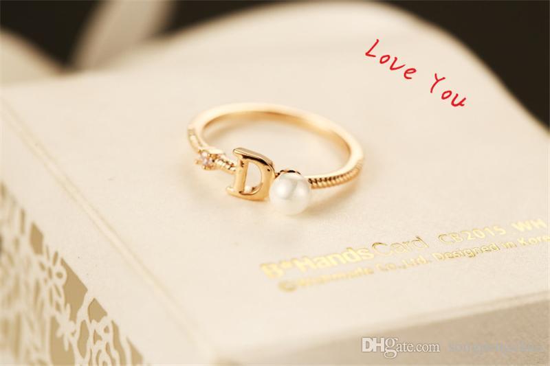 Marca Europeia Brand Banhado Letra D Anel de Moda Anel de Pérolas Vintage Charms Anéis para festa de casamento Anel de dedo vintage