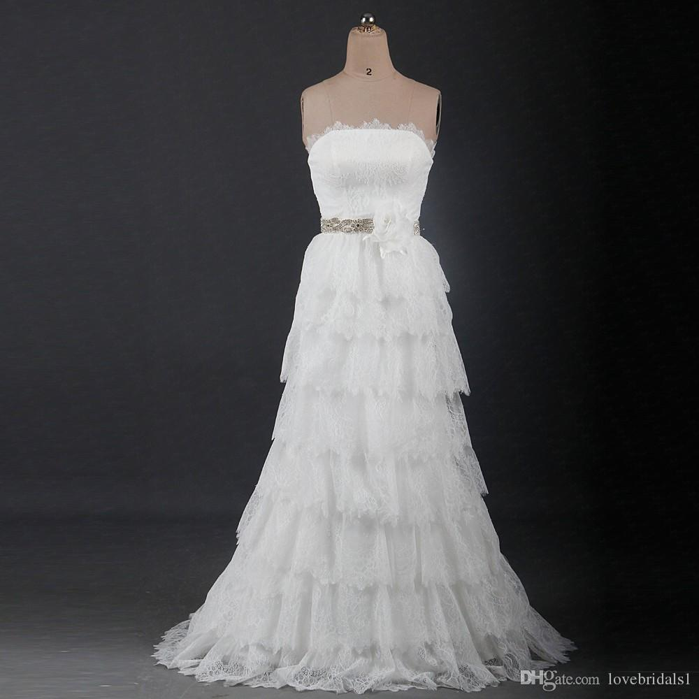 2017 frees shipping Strapless Lace Bohemian Wedding Dresses Tiered Layers back lace-up beads sash lace bridal gowns