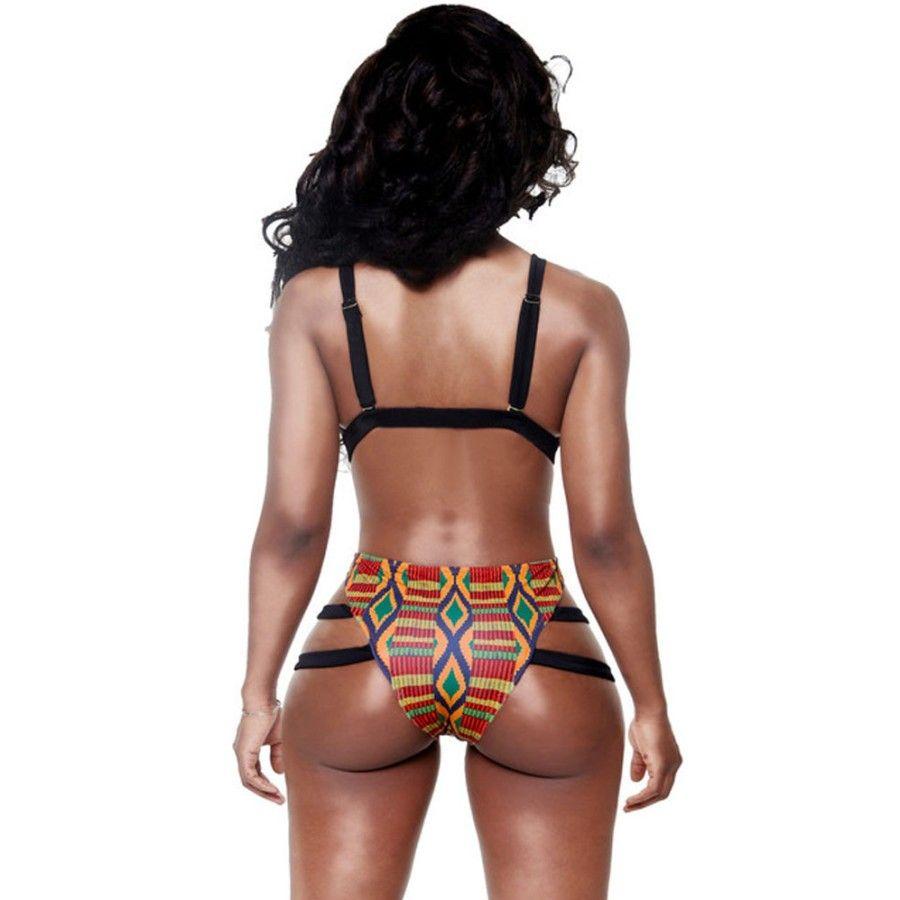 Bikini Badeanzug Hohe Taille Badeanzug Bikinis Frauen African Print Inspiriert Zweiteilige Badebekleidung Verband Riemchen Bikini Sets
