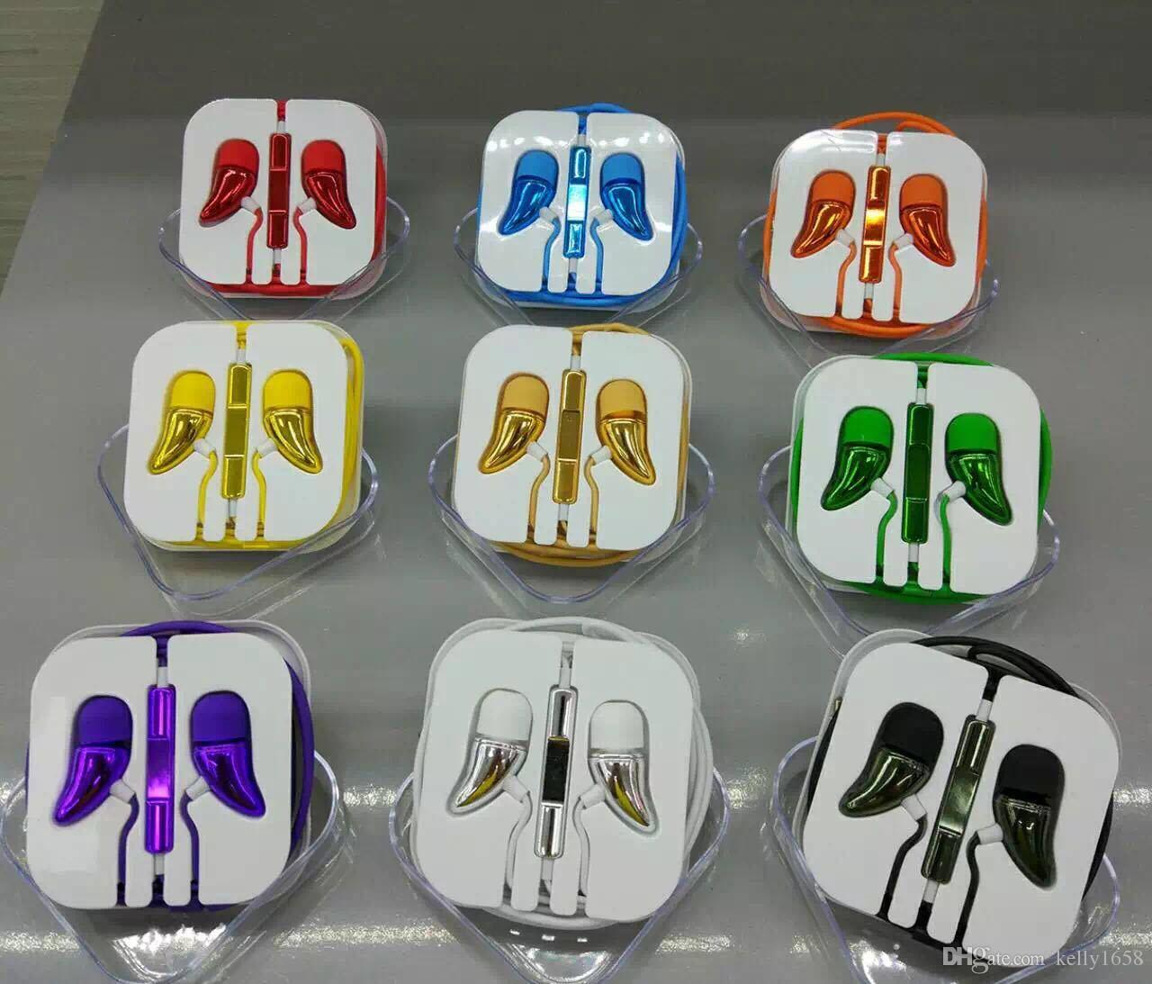 NEW Earphone Electroplating Bass Phone Headphone Pepper Colorful 3.5mm Headset With Mic and Volume Control For HuaWei 200pcs
