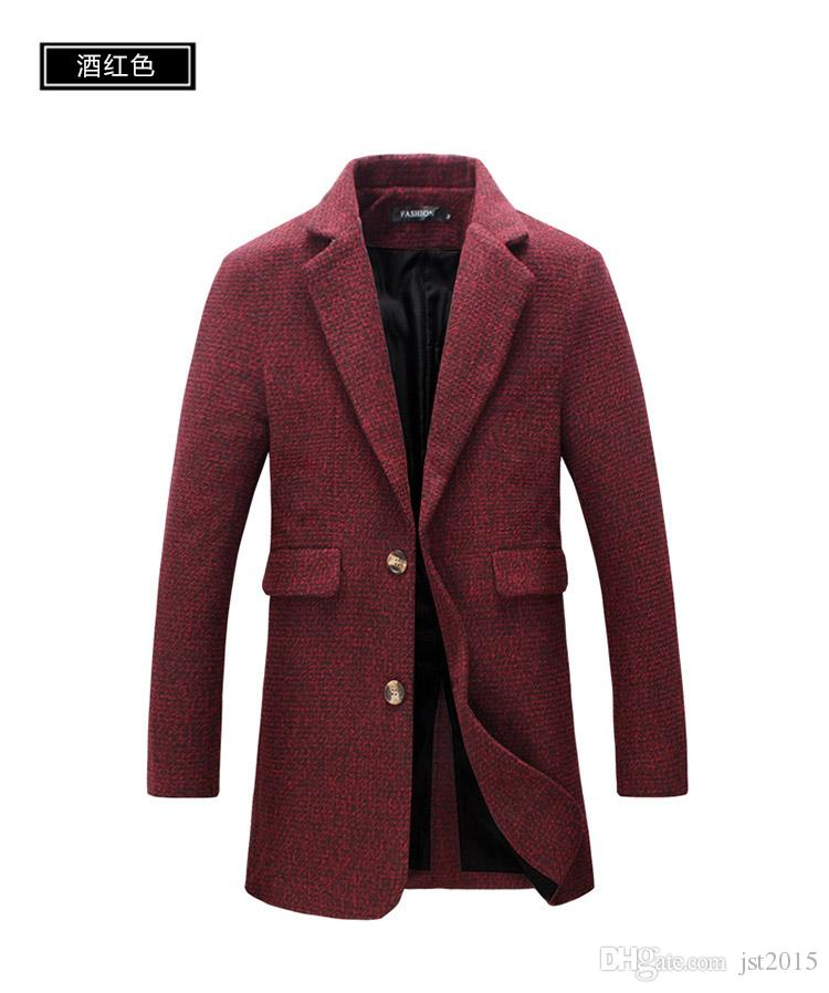 2016 nuova giacca a vento da uomo autunno sezione lunga degli uomini d'affari casuali giacca a vento di grandi dimensioni uomini risvolti slim colore solido