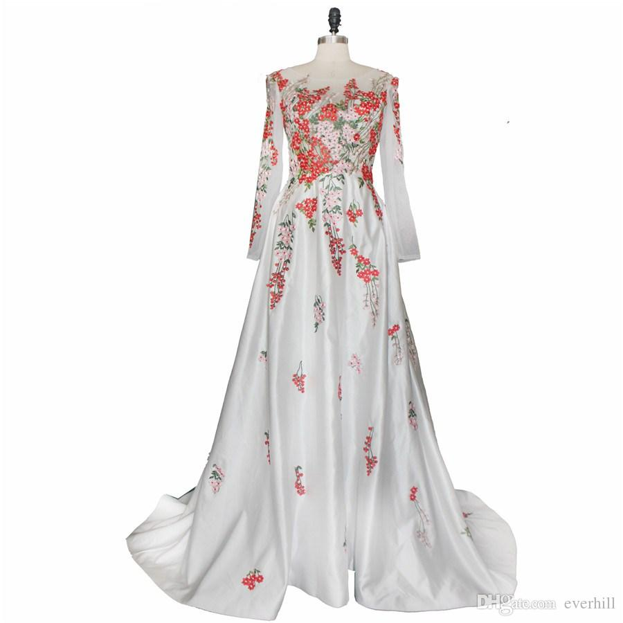Jane Vini White Arabic Women Evening Dresses With Exquisite Embroidery 2018 Sheer Long Sleeves Formal Occasion Gowns Dubai Robes Galajurk