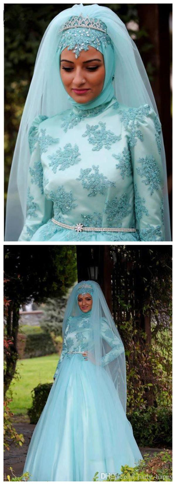Die muslimische Hui Brautkleid Spitze lange volle Hülse Blau Appliques Brautkleider Mermaid India Malay Hui Hochzeit Vintage Brautkleider