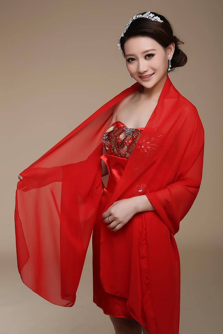 Langer Chiffon- Brautschal Nach Maß Brautverpackungen Sonnenschutzschals Größe 200cmX75cm Rot Lila Rosa Gelb Oder Benutzerdefinierte Farbe