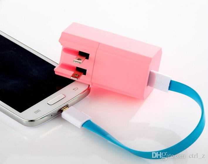2016 new 2200mah power bank charger with us plug travel wall charger for iphone samsung mobile 2 in 1 function