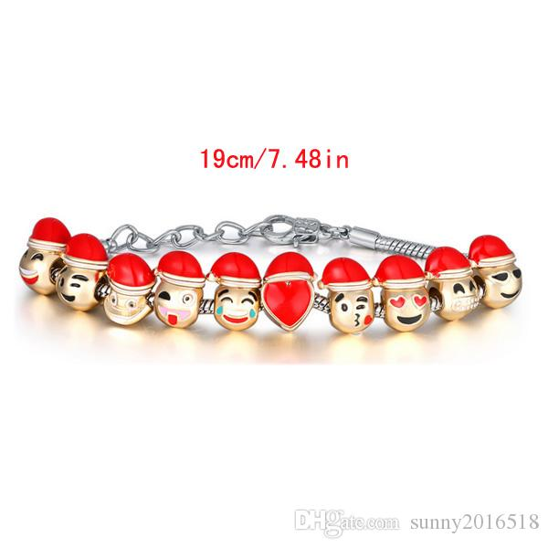 New Christmas Gifts Creative Jewelry Cute Cartoon Smile Christmas Hat Charms Bracelet DIY Beads Gold Silver Plated Chain