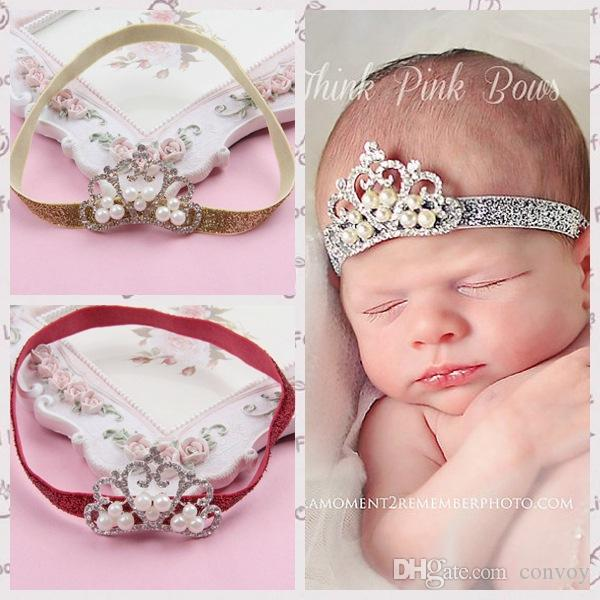 Hot Sale Baby girls headbands Infant Shiny Tiara Headbands Pearl Hairbands Children Hair Accessories Kids headwear Hair band 6 Color KHA90