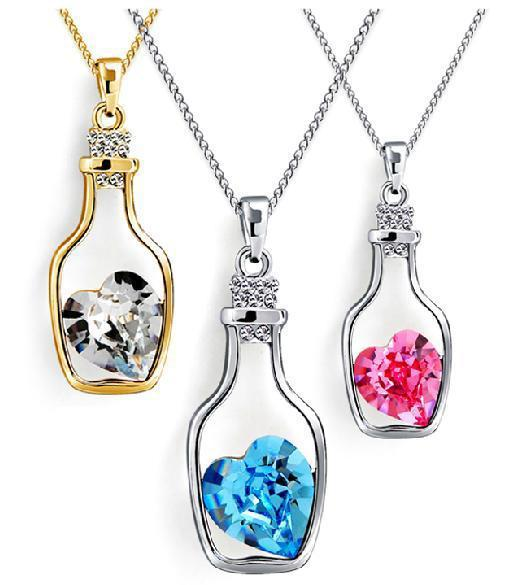 New DHL Hollow Bottles And Love Crystal Pendant Necklace Austrian Cheap Choker Diamond Alloy Necklace Sweater Necklace Locket Jewelry ZJ-N02