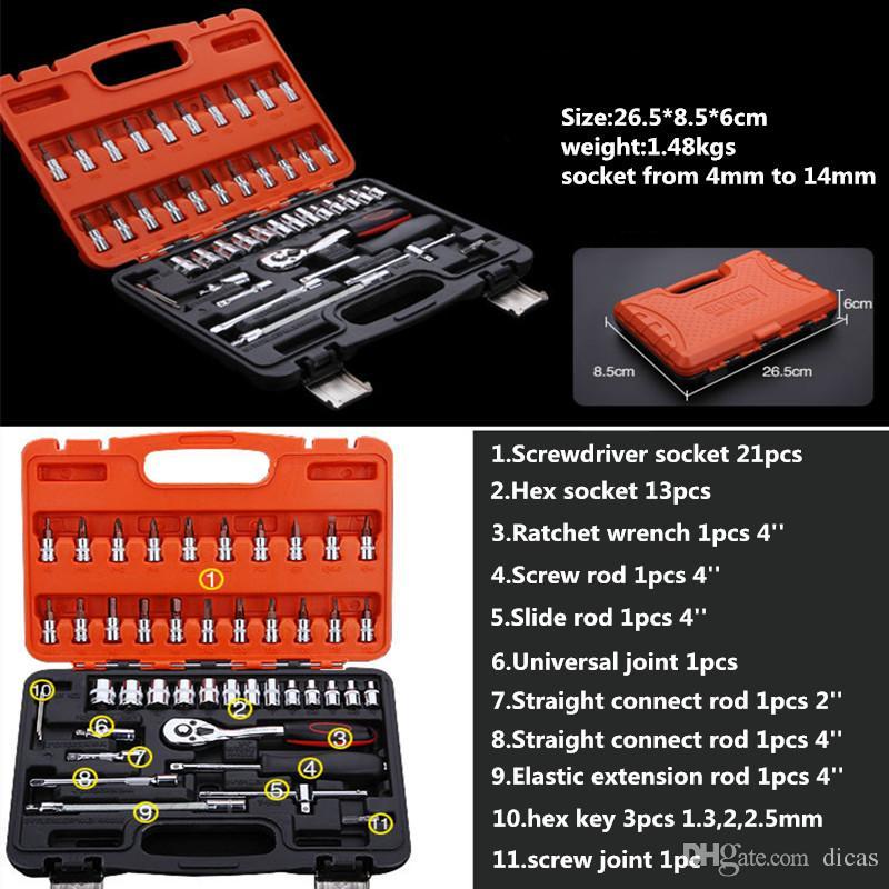 Il trasporto libero 46 PZ chiave a cricchetto presa tool box set manuale manicotto strumenti set la riparazione auto di emergenza strumento hardware dell'automobile accessorio