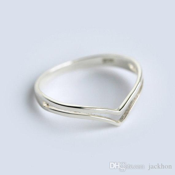 -R006 Dupla Chevron Anéis Banda Fina V Anel Chevron V Anéis Curvo Onda Anel Simples Com Fio Anéis Geométricos para As Mulheres