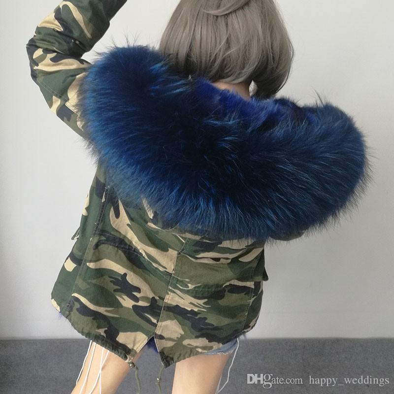 2017 новый женский зимний камуфляж армия зеленый куртка пальто толстые парки плюс размер реального енота меховой воротник с капюшоном пиджаки