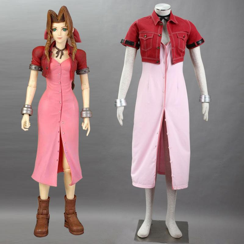 japanese psp game ff final fantasy vii aerith cosplay costume