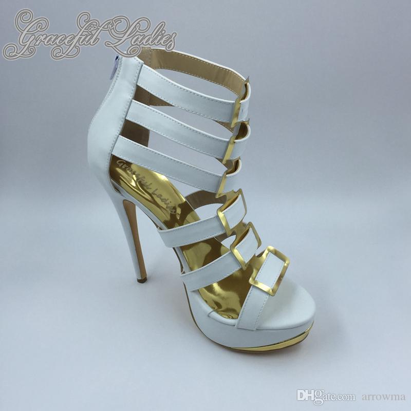 2016 Braut Hochzeit Schuhe High Thin Heels Real Image Damen Sandalen mit High Thin Heels Nach Maß Plus Size Covered Back Zipper Sexy