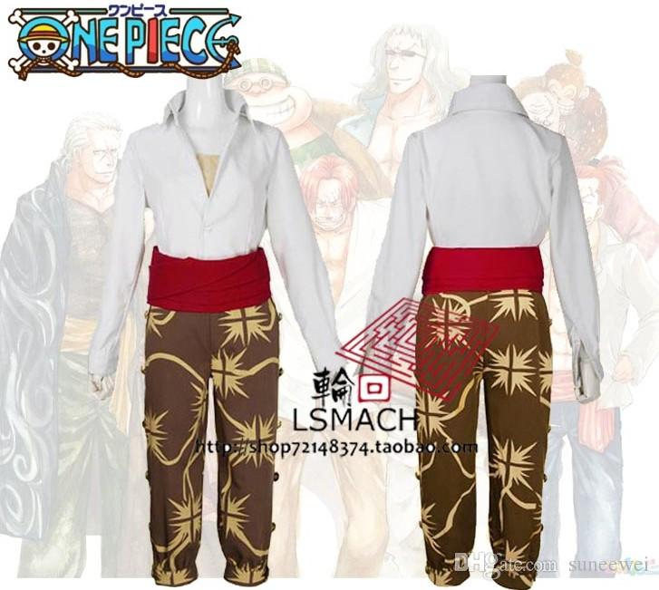 Japanische Cartoon Anime ein Stück Kapitän Red Haired Shanks Cosplay Kostüm Set Cape + Pants + Shirt + Sash
