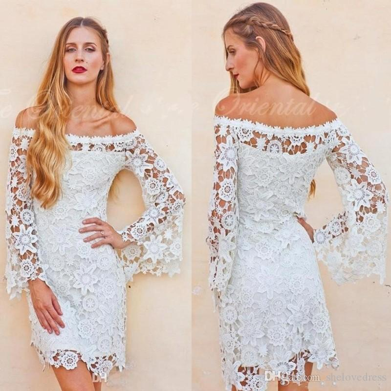 2017 Vintage Inspired 70s Style Bell Sleeves Crochet Lace Boho Hippie Wedding Dress Off Shoulder Short Reception Dresses Custom Made