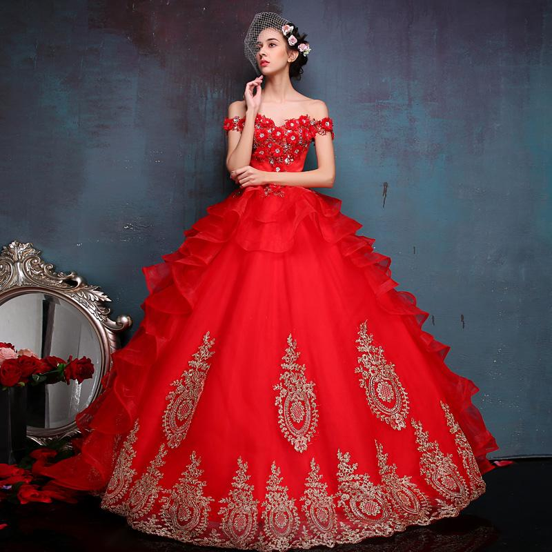 Red Ball Gown Prom Dresses Off Shoulder Lace Up Floor Length Vintage ...