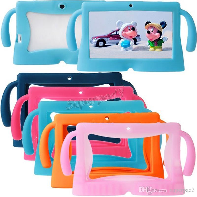 Для 7 дюймов Q88 характер Tablet Case дети мягкая силиконовая резина гель Tablet PC Case красочные обложка DHL Бесплатная доставка Оптовая 50 шт. дешевые