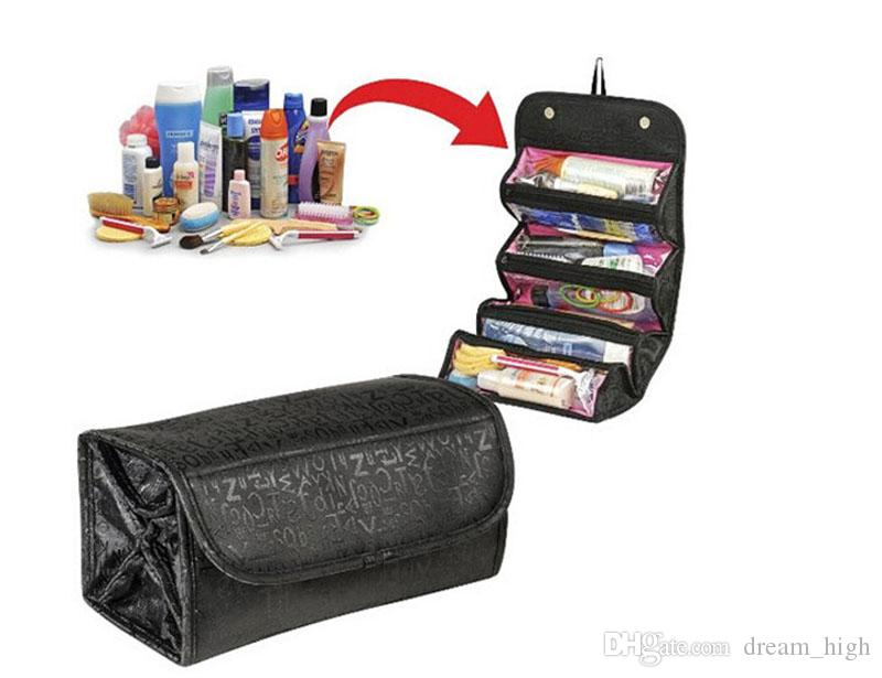 Cosmetic Roll-N-Go Makeup Tools Bag Fashion Female Makeup Hanging Loop Women Toiletries Case Jewelry Organizer Zipped Compartment