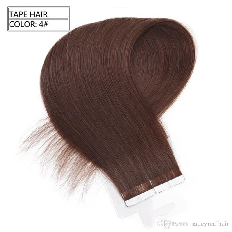 Grade 7a Pu Tape In Brazilian Human Hair Extensions Straight Brown