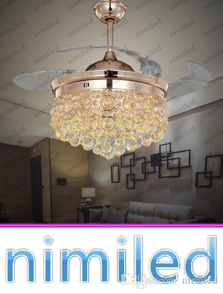 2017 Nimi843 36 42 Crystal Invisible Ceiling Fan Light Lights Living Room Lighting Led Chandelier Remote Control Mute Pendant Lamp From Nimiled