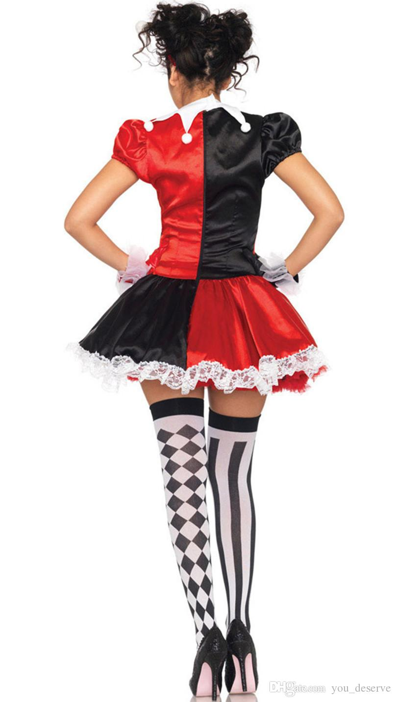 New Arrival Luxury Harley Quinn Costumes Funny Clown Cheap Ugly Woman Dress Cosplay Halloween Clothing Hot Selling