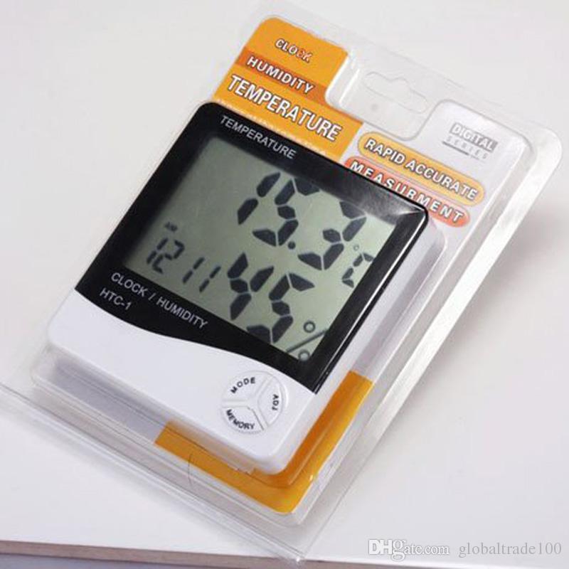 HTC-1 Hög Noggrann LCD Digital Termometer Hygrometer Inomhus Elektronisk Temperatur Luftfuktmätare Klocka Larm Väderstation DHL