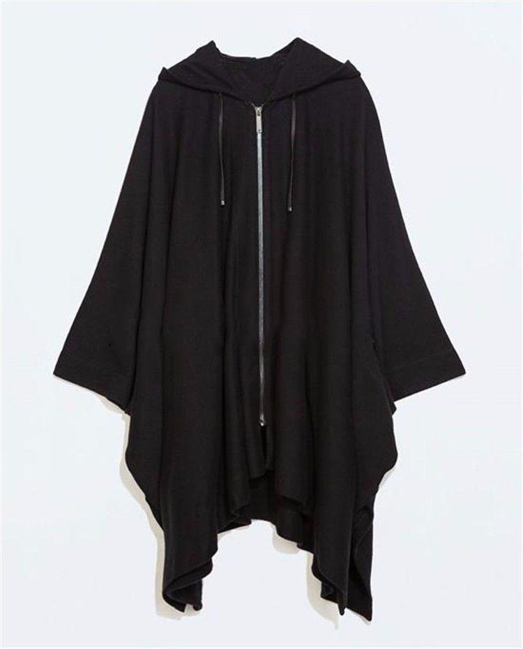 2016 Harajuku Gotik Giyim İngiliz Tarzı Moda Erkek Yün Pelerin Pelerin Uzun Siyah Kapşonlu Trençkot Erkekler Rüzgarlık Palto