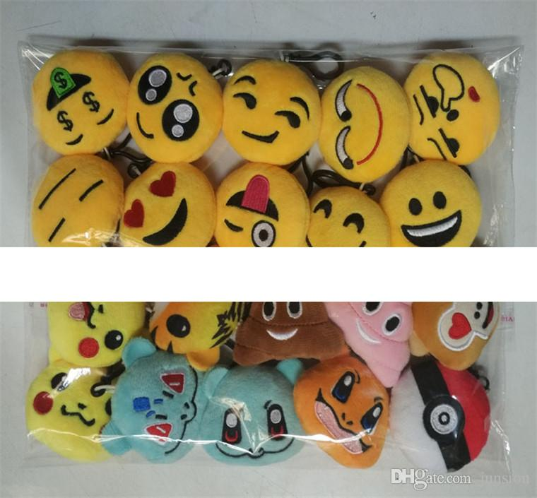 Newest Emoji Plush Pendant Key Chains 100% PPCotton Plush Stuff Dolls 2016 New Stuffed Toys For Cell Phone Mobile Bag 6cm-9cm