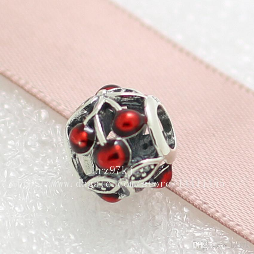 New 2016 Summer 925 Sterling Silver Sweet Cherries Charm Bead with Red Enamel & Cz Fits European Pandora Style Jewelry Bracelets & Necklace