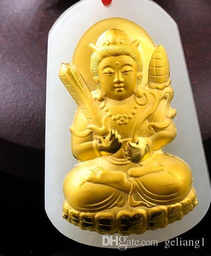 Счастливое золото инкрустированный нефритовый кулон с пустоты Тибет бодхисаттва очарование. Кулон ожерелье.