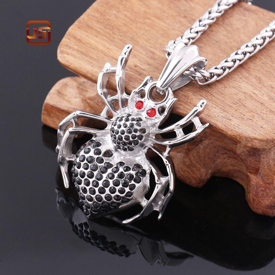 Hot sale Superhero Spiderman Necklace Simple Design Stainless Steel Spider Pendant cheap stylish Vintage Punk Biker jewelry
