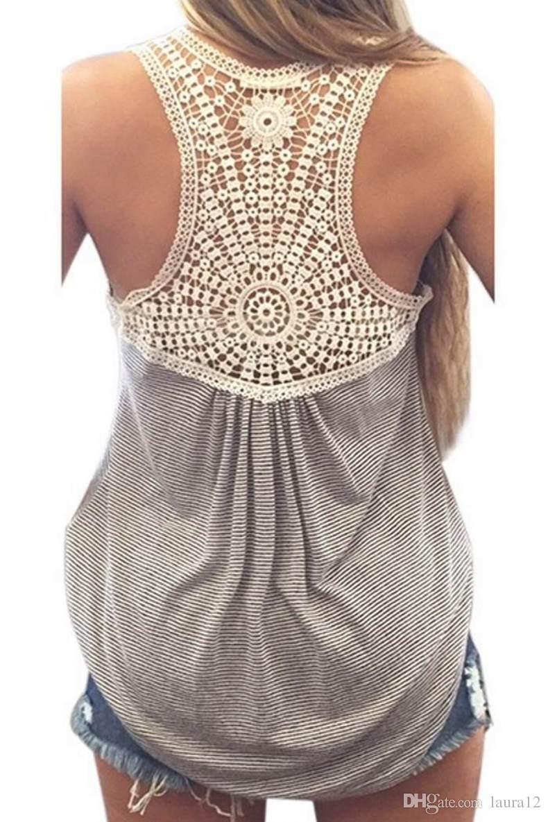 2016 Europe and the United States Casual Loose Women Tanks Sexy Sheer Lace Back Sleeveless Striped Cotton Gray Women Tees Cheap T Shirts