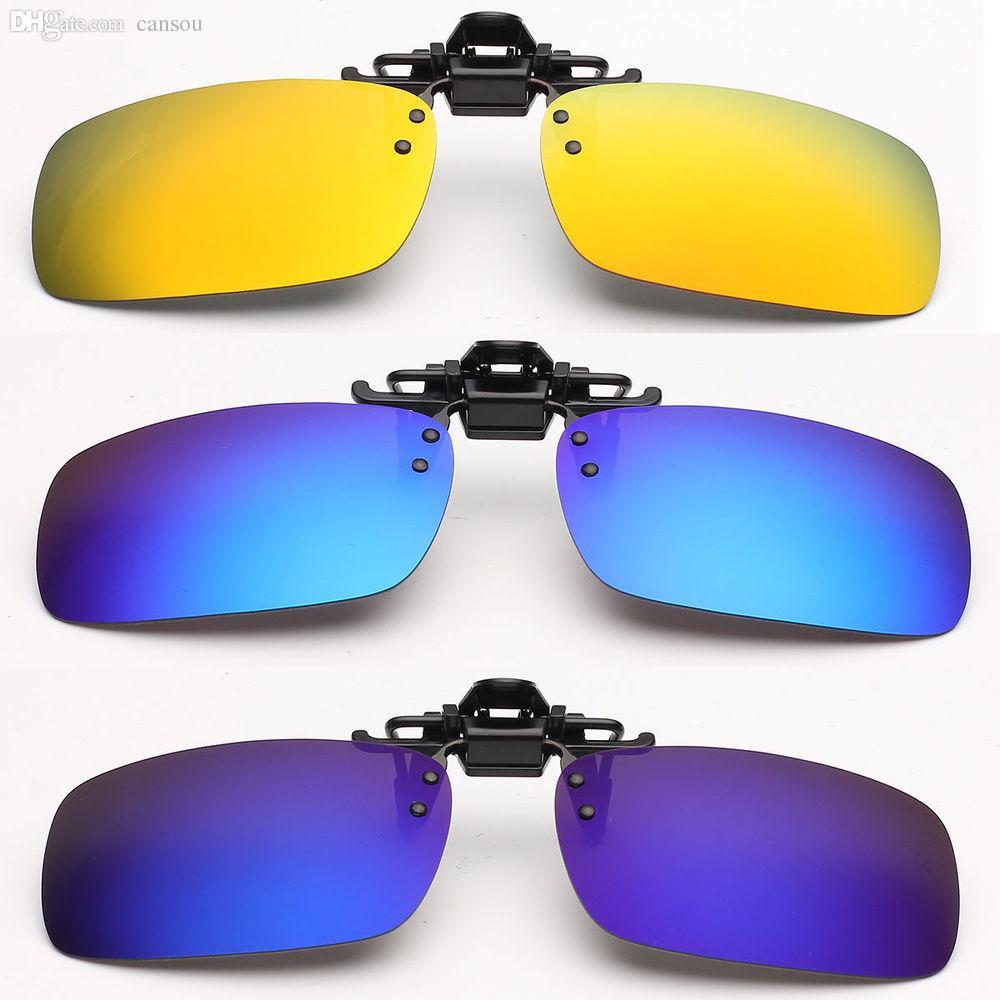 38a581d340 Wholesale Unisex Polarized Mirrored UV400 Clip On Flip Up Sunglasses Clip  Driving Fishing Glasses Night Vision Lens Anti UVA Eyeglasses Cycling  Sunglasses ...