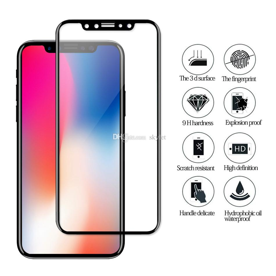 3D gebogener Rand gehärtetes Glas für iPhone X Iphone 7 Samsung S9 S9 Plus Case freundliche Displayschutzfolie für S8 Hinweis 8 S7 EDGE S6 EDGE Plus