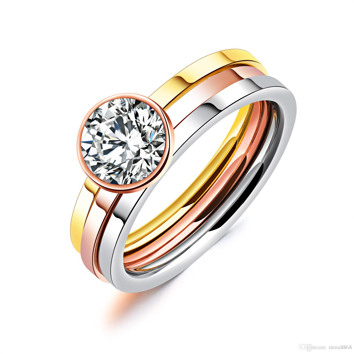 Womens Jewelry Bridal Ring Sets Rose Gold Slliver Gold Colors 3 In 1 Rings  Set For Woman With Zircone Luxurious Women Wedding Rings UK 2019 From  Mina8868 89c0706b95