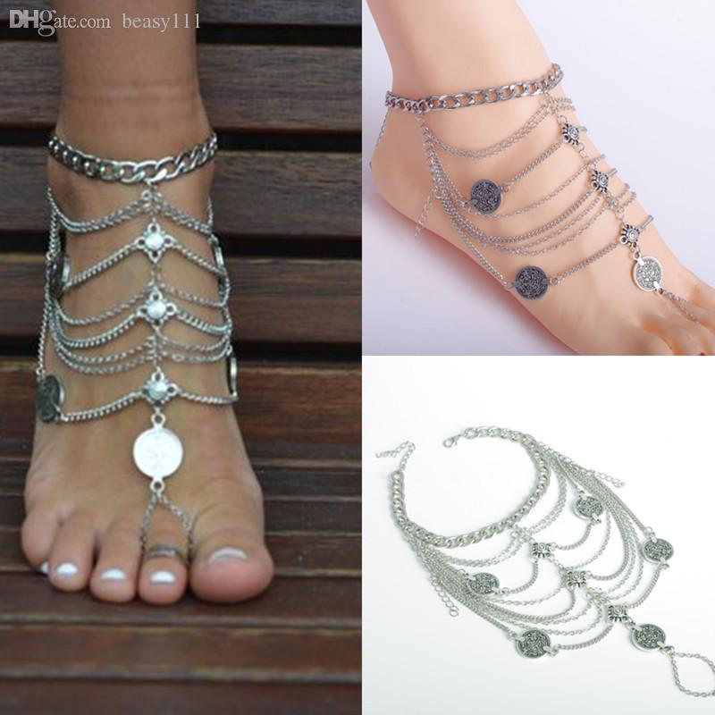 gift yogi lotus anklets silver bracelet boho women yoga surf for beach product ankle anklet festival bangle
