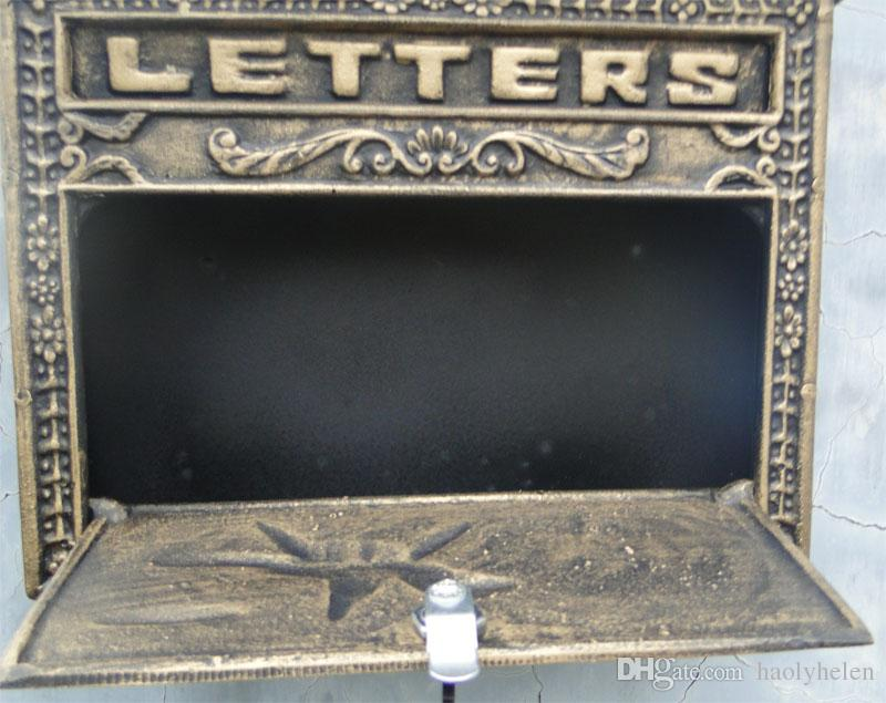 Vintage Bronze Cast Aluminum Mailbox Postbox Mail Box Wall Mounted Metal Letters Box Post Box Home Garden Office Courtyard Decor Lockable