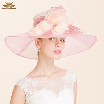 Donna Organza Cappello bambina Cappello Fiore bianco Ampia visiera Fluff Fluff Fluff Fluff Fluff Organza Tesa larga