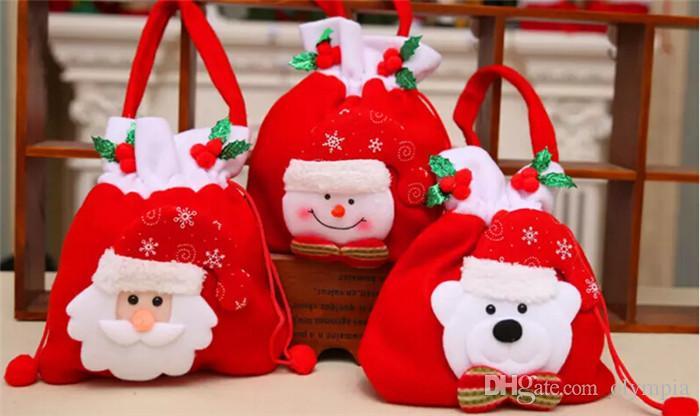 Cadeau De Noel à La Mode.Mode Noël Cadeau Santa Style De Noël Décoration De Noël De Mariage De Bonbons Sacs Beaux Cadeaux De Noël Sac Pour Les Enfants