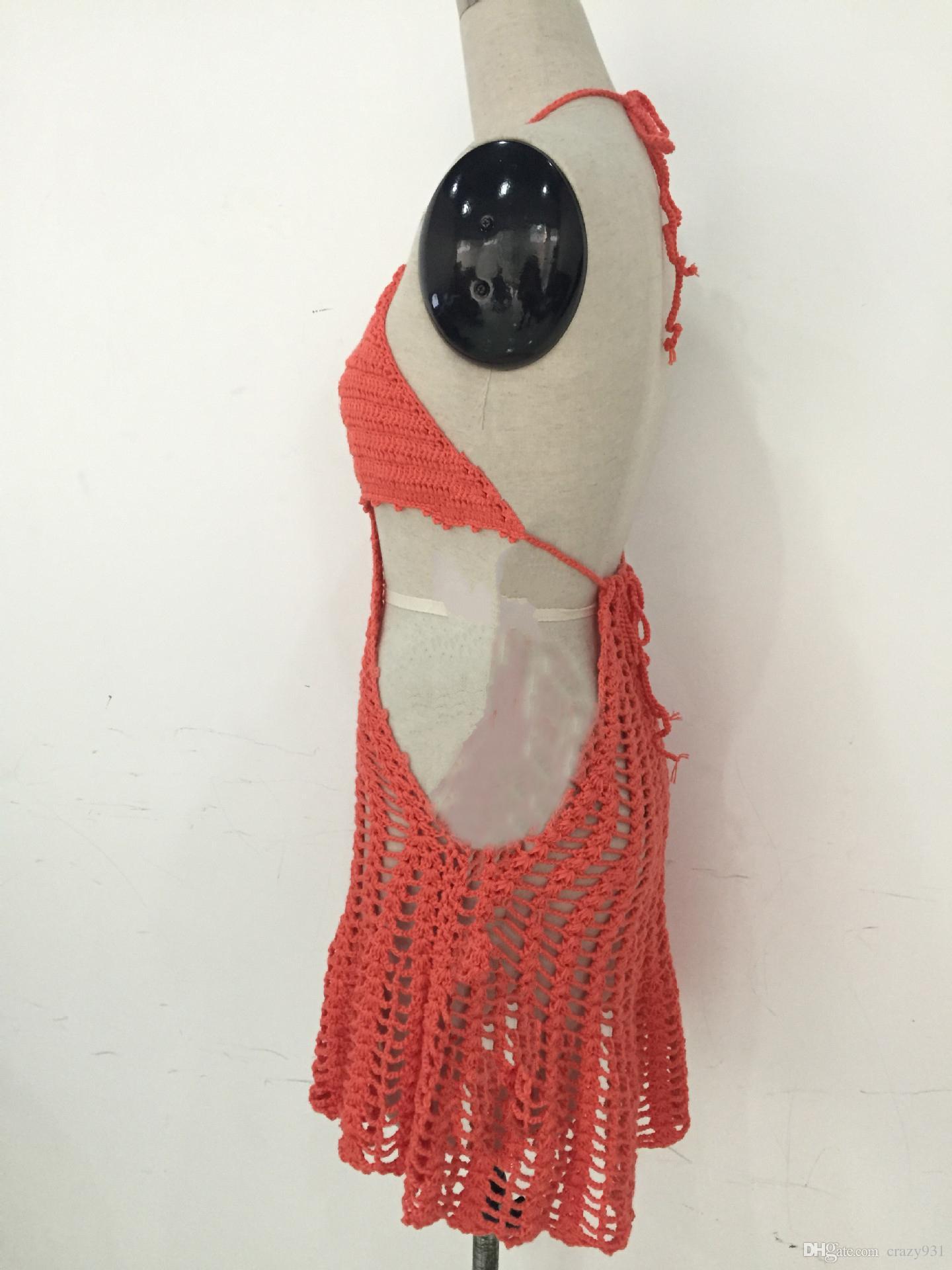 2016 nova swimwear swimsuit handmade crochet tricô mão gancho de malha de uma peça biquíni swimsuit sexy set atacado roupas de natação