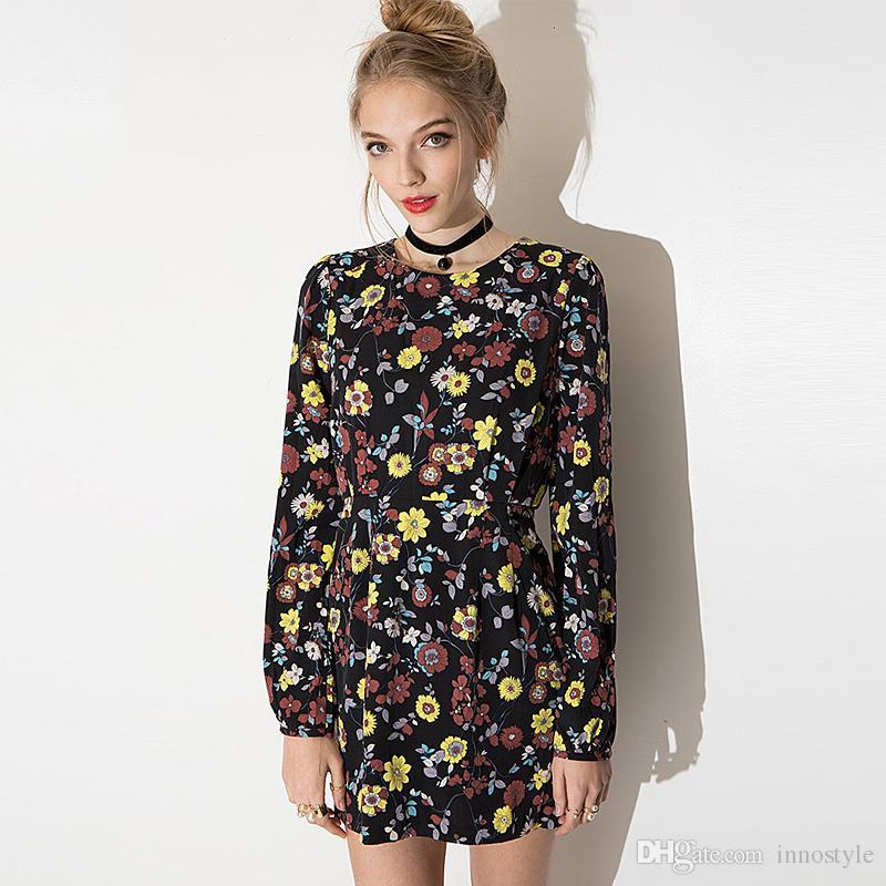 Long Sleeve Black Floral Print Dresses Women Autumn High Waisted
