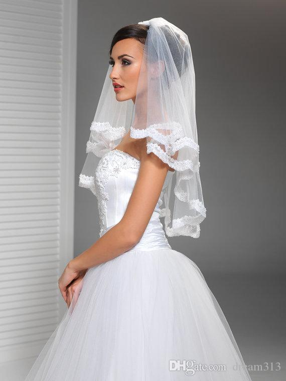 Luxury High Quality Best Sale Elbow Length White Ivory Lace Applique veil Mantilla Veil Bridal Head Pieces For Wedding Dresses