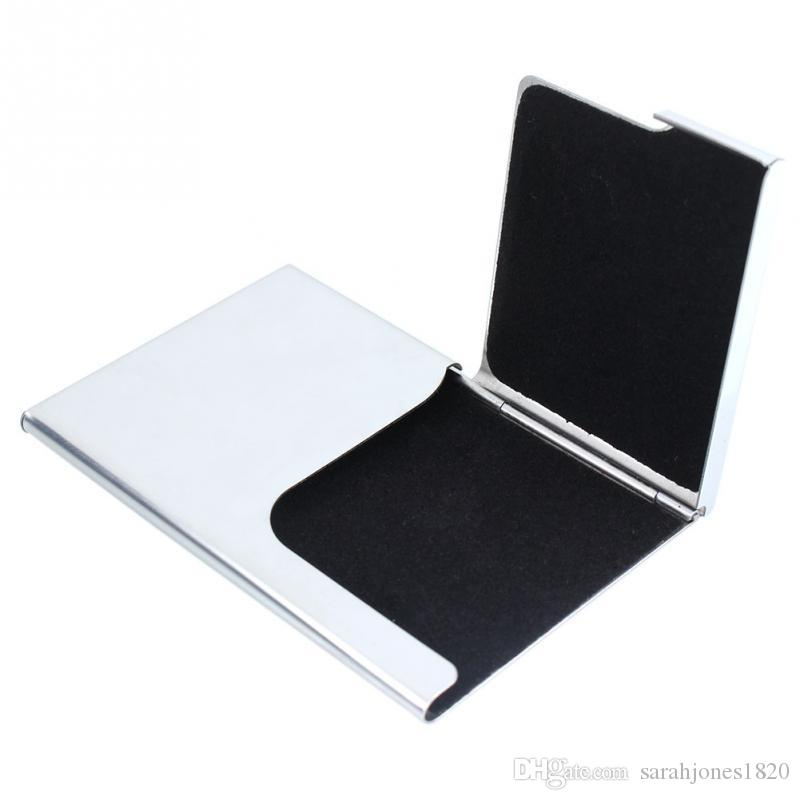 Metal Business Card Holder Shiny Card Box Case For Card Silver ...