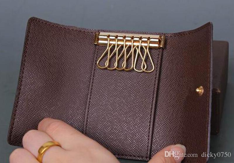 2017 الجملة المربع الأصلي الفاخرة متعدد الألوان قصيرة محفظة ستة حامل مفتاح النساء الرجال الكلاسيكية سستة جيب مفتاح سلسلة شحن مجاني 62630