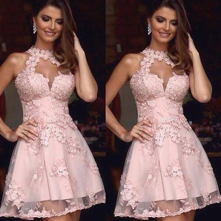 Vestidos de festa de Cocktail de alta Neck com Applique Lace Pink Curto Vestidos de regresso a casa mangas de volta Zipper tule Ver através de vestidos de baile de formatura