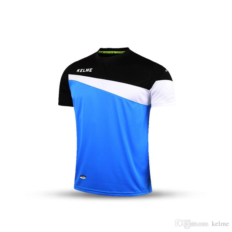 Free Shipping Kelme K15Z219 Men Short Sleeve Training Football Jersey T-shirt Fluorescent Blue Black White